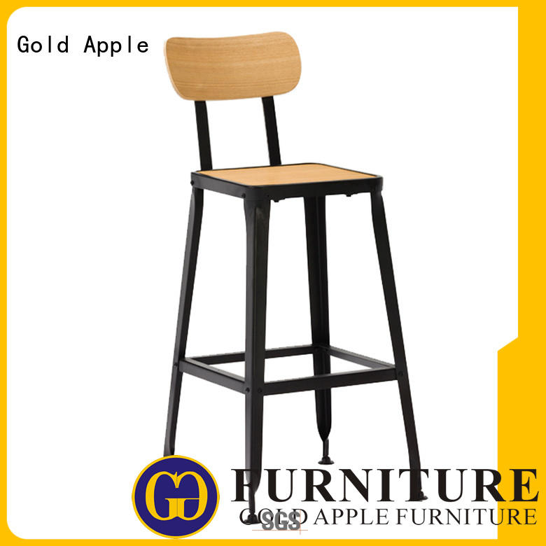Gold Apple antique round wooden stool industrial metal for kitchen