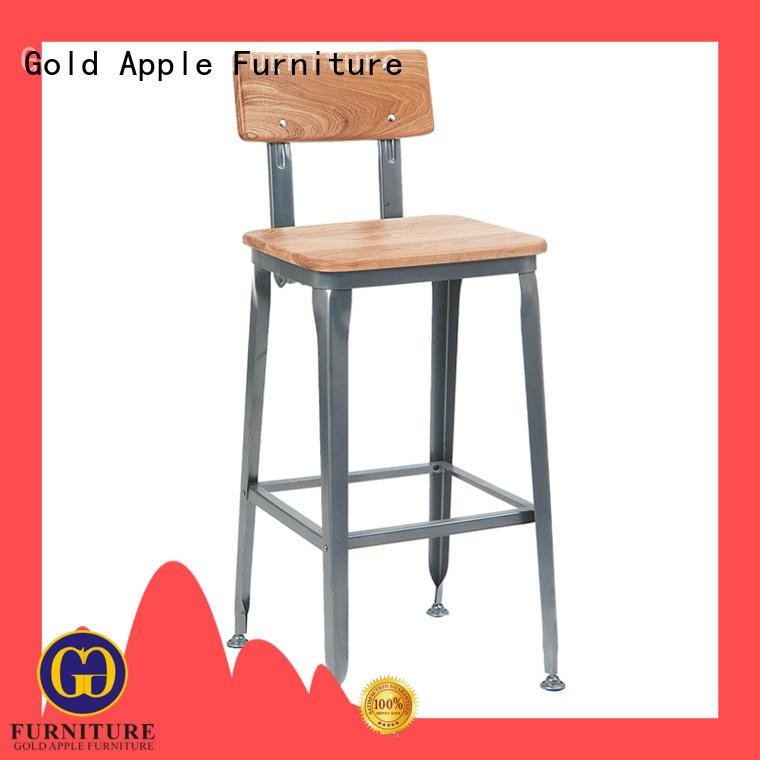 Gold Apple vintage wood swivel bar stools with backs wooden seat for restaurant