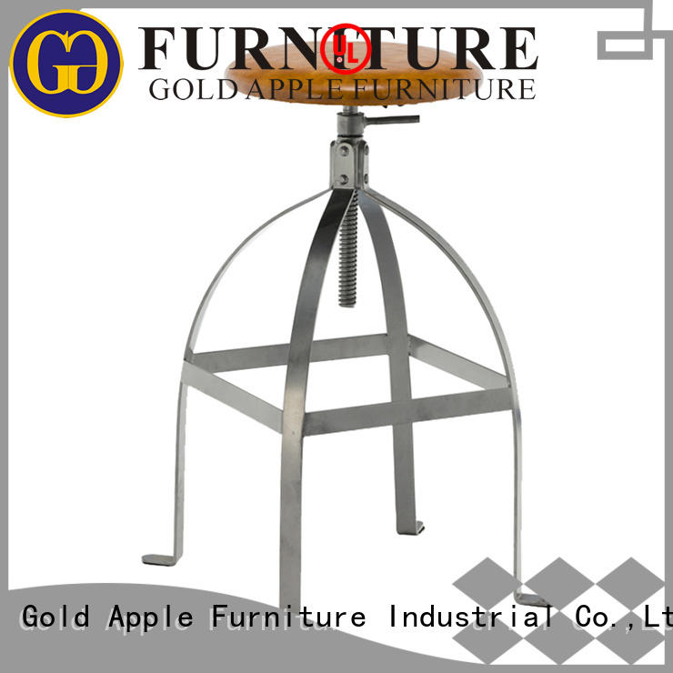 heavy leather upholstered bar stools industrial for cafe Gold Apple