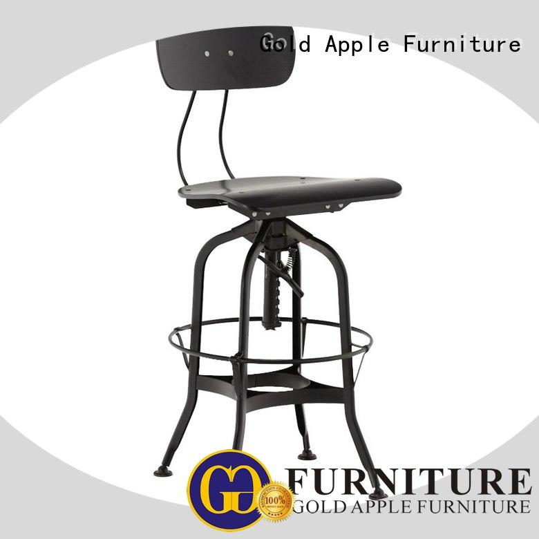 Gold Apple high-end wood stools with backs wooden seat for restaurant