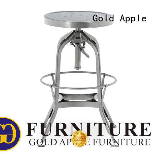 Gold Apple plywood leather swivel bar stools with back powder coating for kitchen