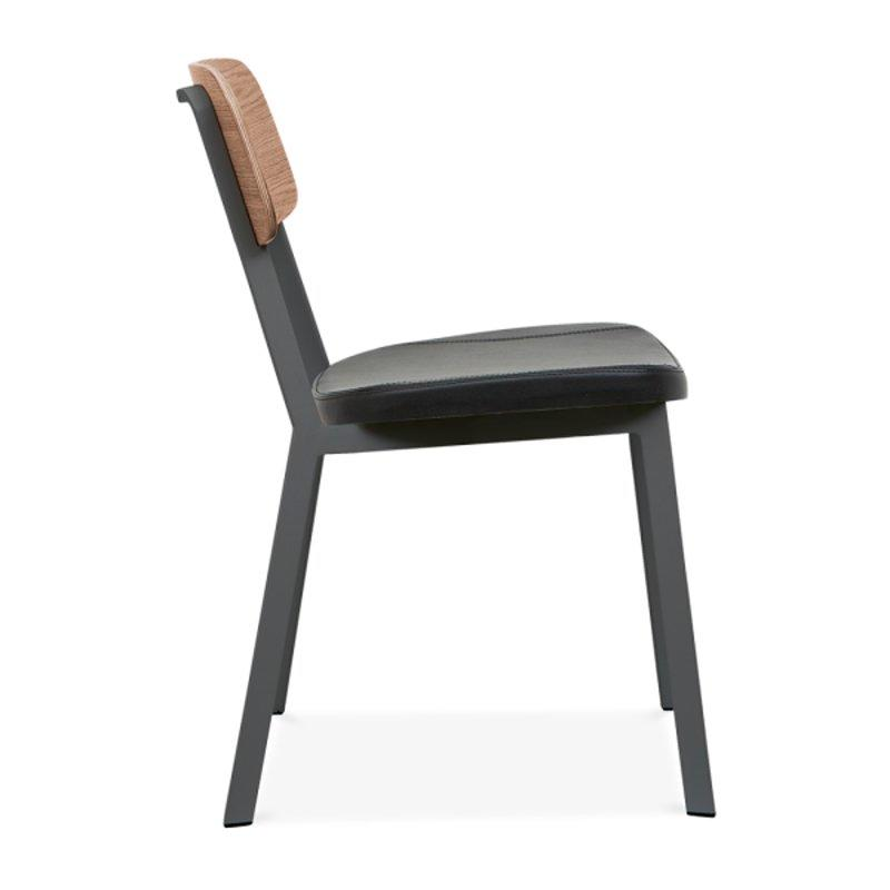 Modern Stackable Upholstered Dining Chair With Leather Seat GA3001C