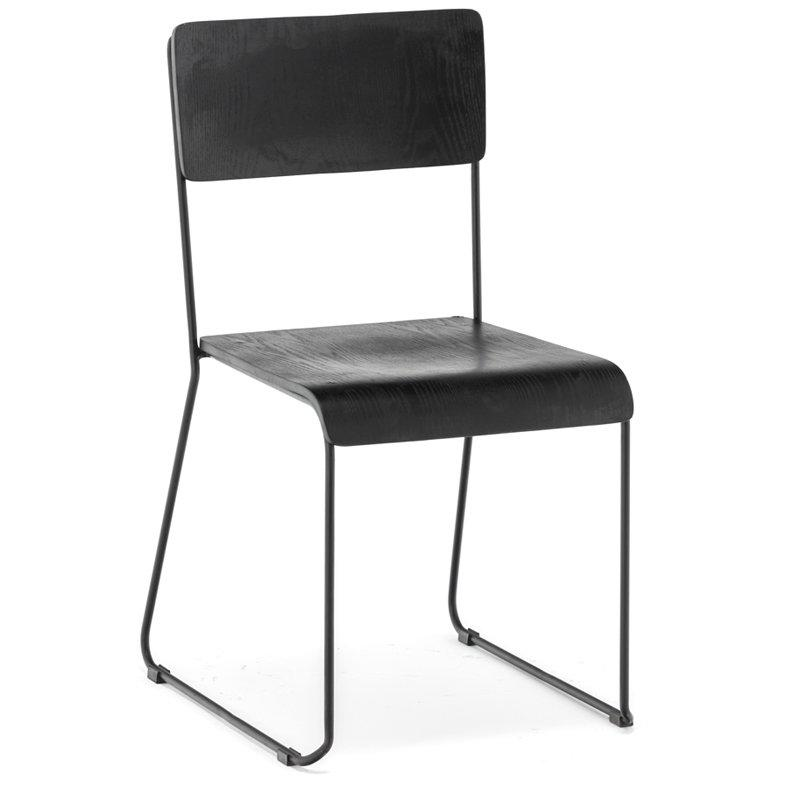 Chinese Supplier Walnut Veneer Wood Chair With Iron Wire Leg GA3602C-45STW