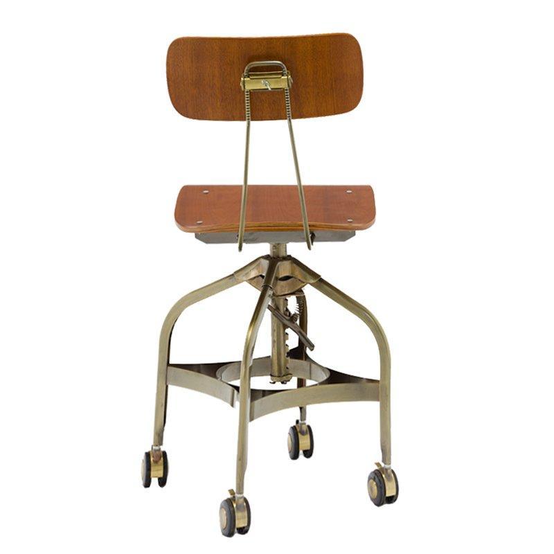 Triumph plywood swivel Antique metal bar stools industrial / Vintage Toledo Metal High Bar chairs GA402C-45STW