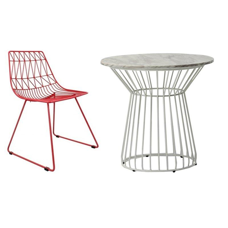 Marble Top Wire Frame Table And Chairs GA2206 SET
