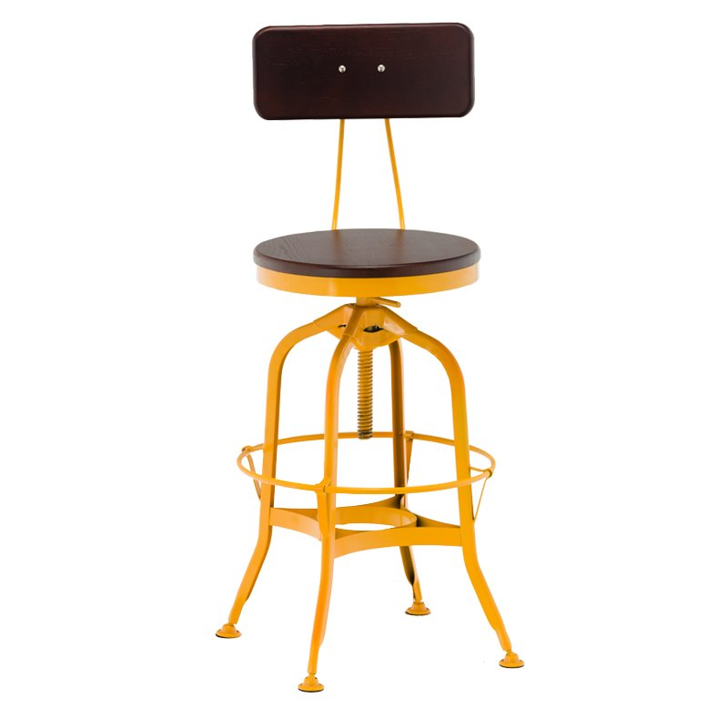 short wooden stool adjustable height wooden seat with backrest-4