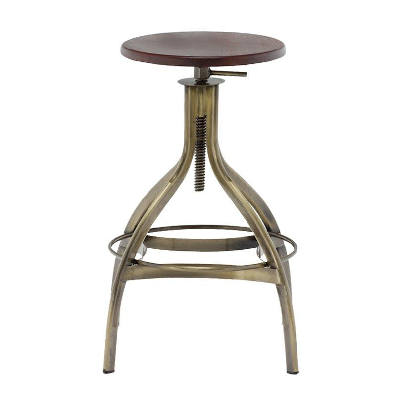 Round Iron Metal Cushion High Industrial Metal Counter Height Bar Stools Metal Legs Chair For Cafe Bar GA606C-65STW