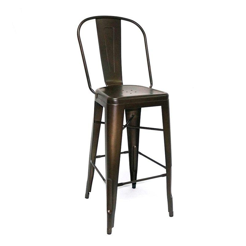 Coffee Rusty Steel Bar Stool with High Back GA101C-75ST