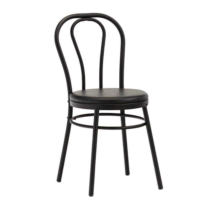 Modern Black Metal Dining Chairs with PVC cushion  GA901C-45STP