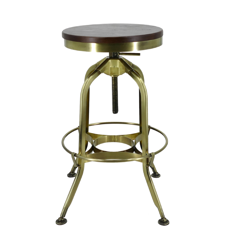Gold Apple vintage wood and leather bar stools wooden seat for restaurant-4