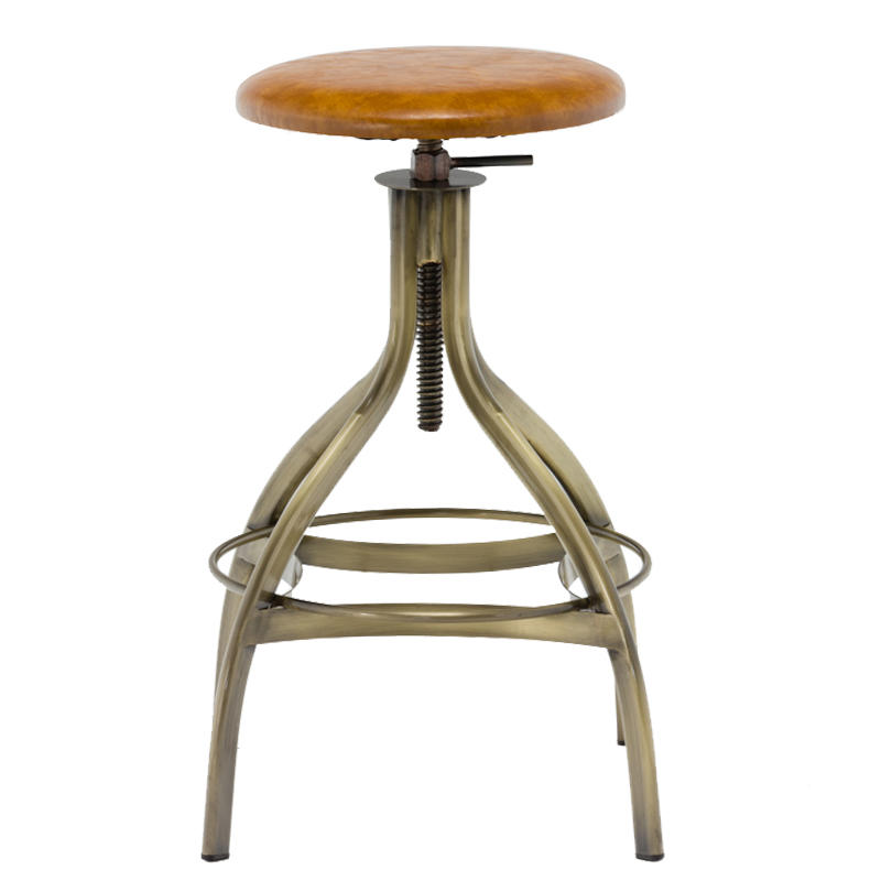 PVC Seat High Stand Adjustable Vintage Industrial Bar Stool GA606C-65STP