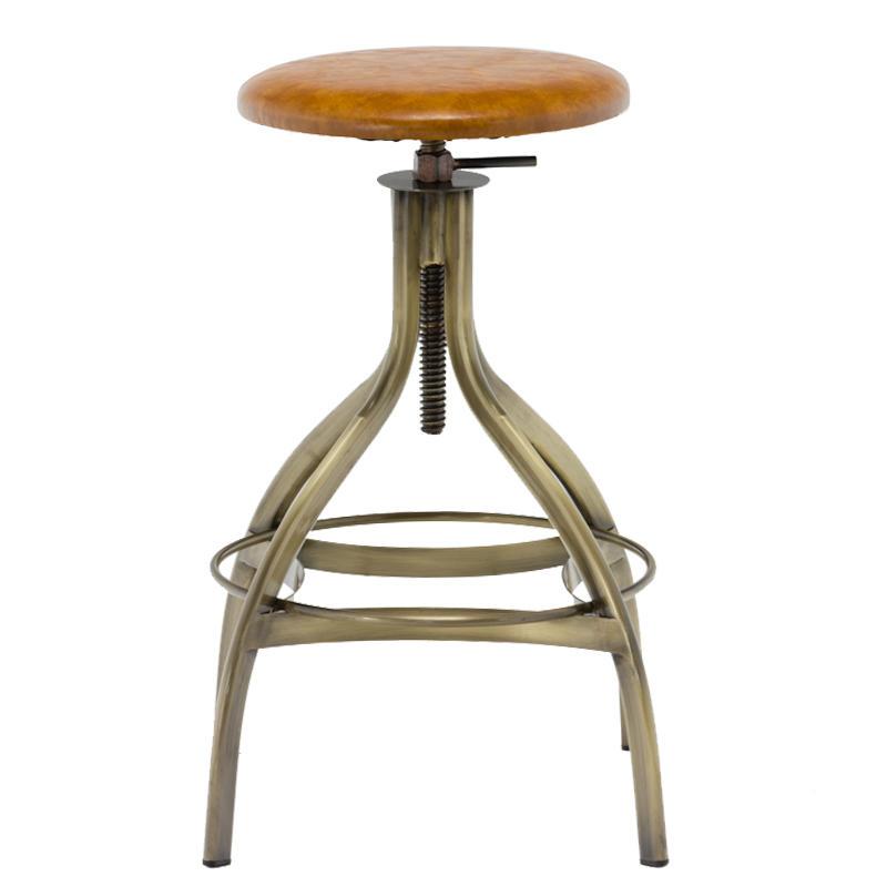 PVC Seat High Stand Adjustable Vintage Industrial Bar Stool GA606C-65STP