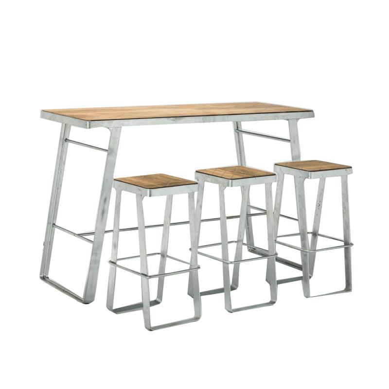 Outdoor Steel Bar Furniture Metal Plastic Wood Bar Stool and Bar Table GA3101BT