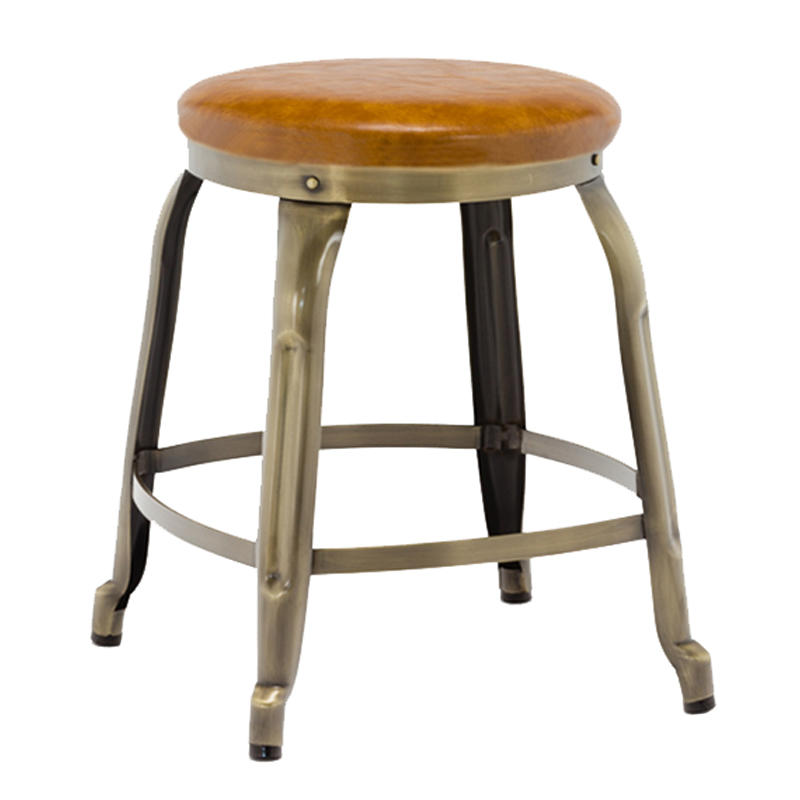 Low Metal Stool with Leather Seat GA301C-45STP