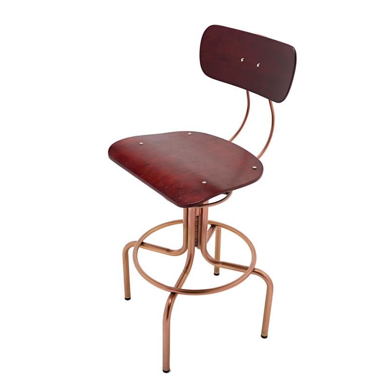 Adjustable Bar Stool with Wood Seat GA405C-65STW