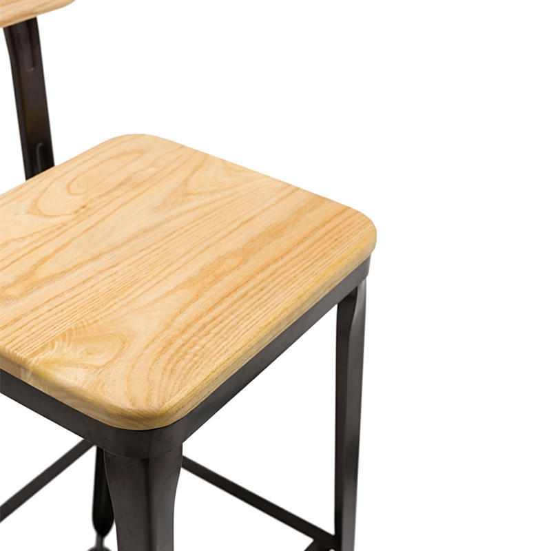 Timber Stool with Back GA501C-75STW