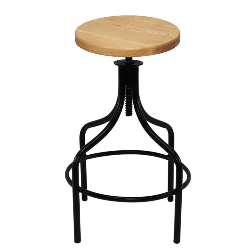 Industrial Furniture, Iron Stool with leather top, Metal Low Hight Stool GA603C-65STW