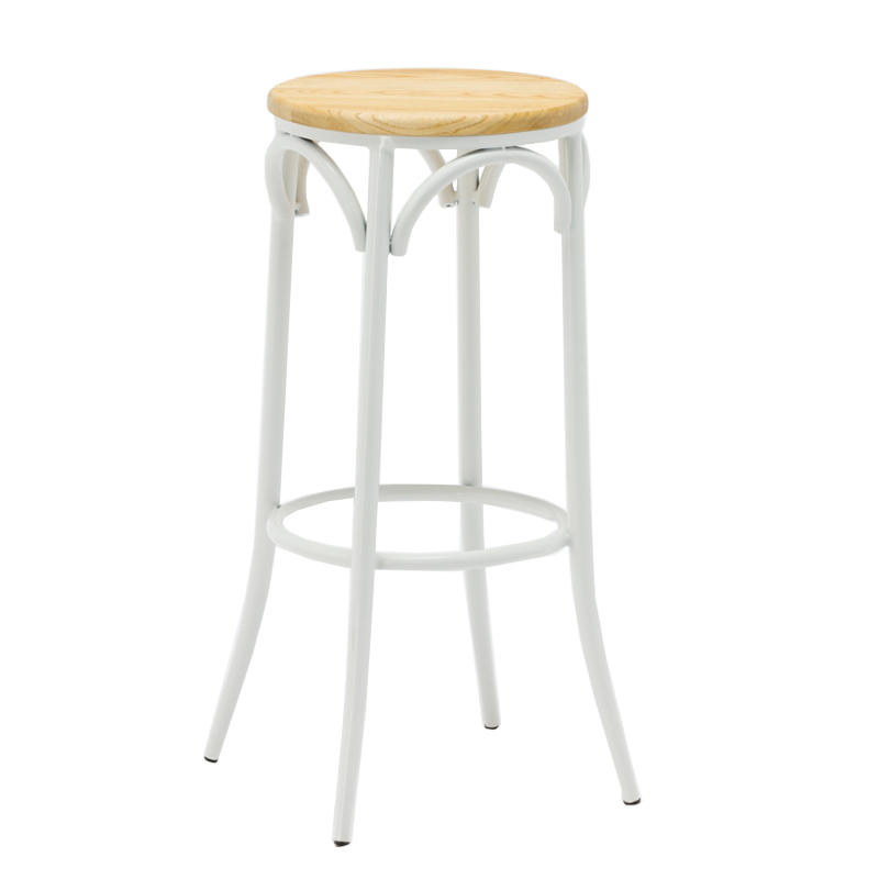Metal Cafe Bar Stool Ash Wood Seat GA901ST-75STW
