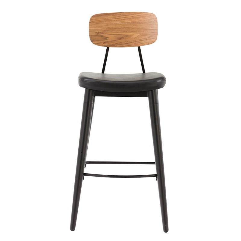 Popular Project Furniture Bar Stool with Cushion Seat and Wood Back GA2001C-75STP