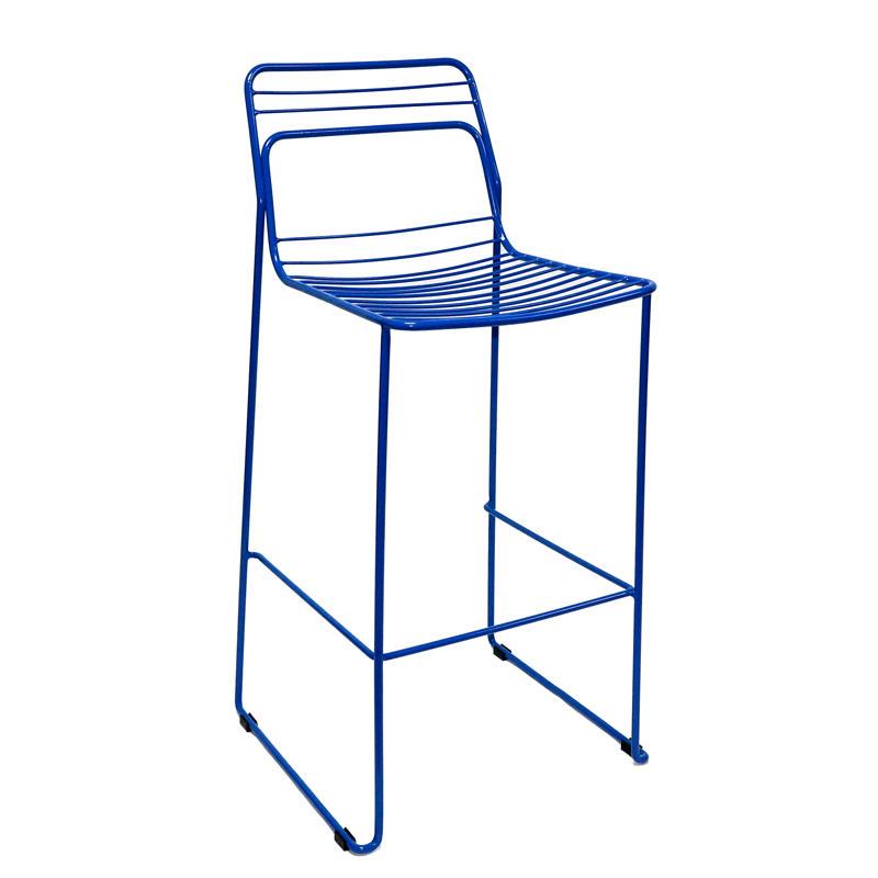 Wholesale steel industrial metal wire side high bar stool with fabric cushion for club event GA2205C-75ST