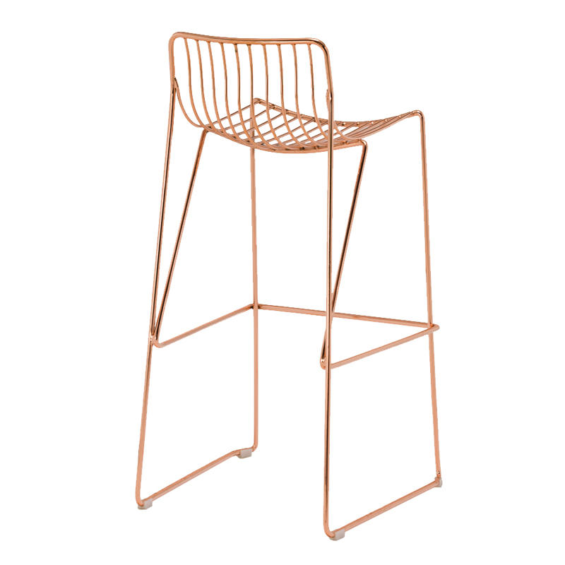 High quality industrial commercial coffee wire metal bar stool chair outdoor garden chair GA2208C-75ST