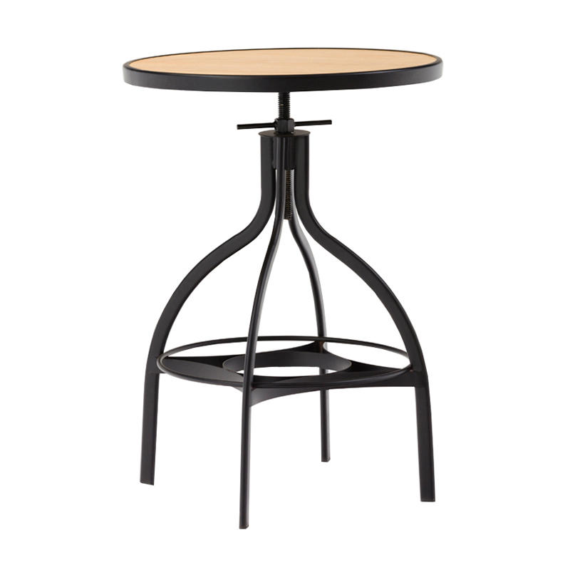 Industrial & Vintage Round Metal Bar Stool with wooden round seat GA606T