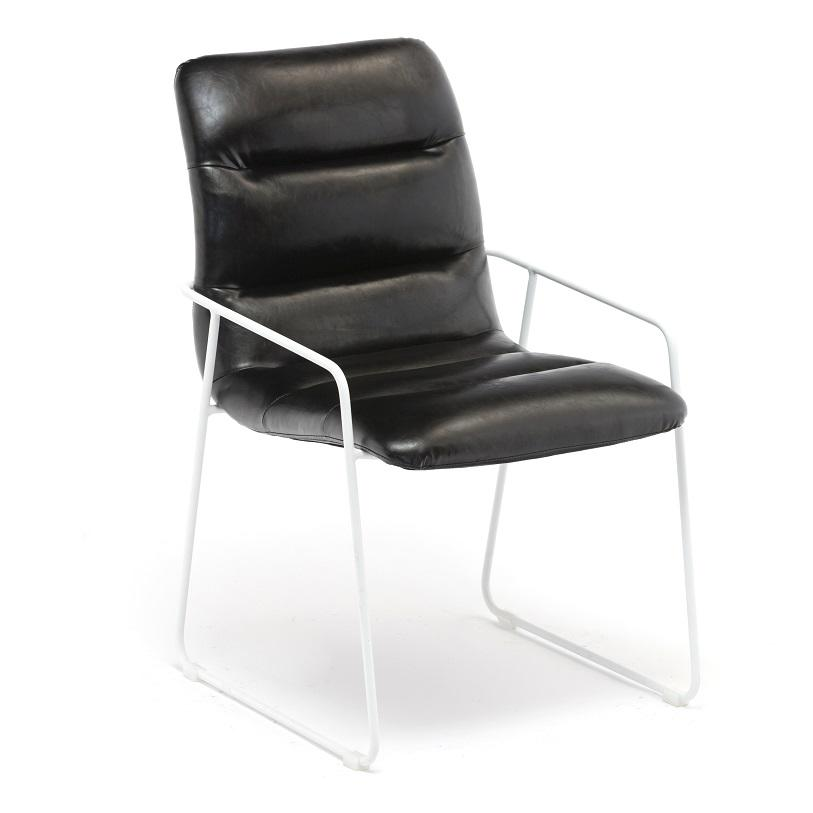Black leather metal frame dining chair