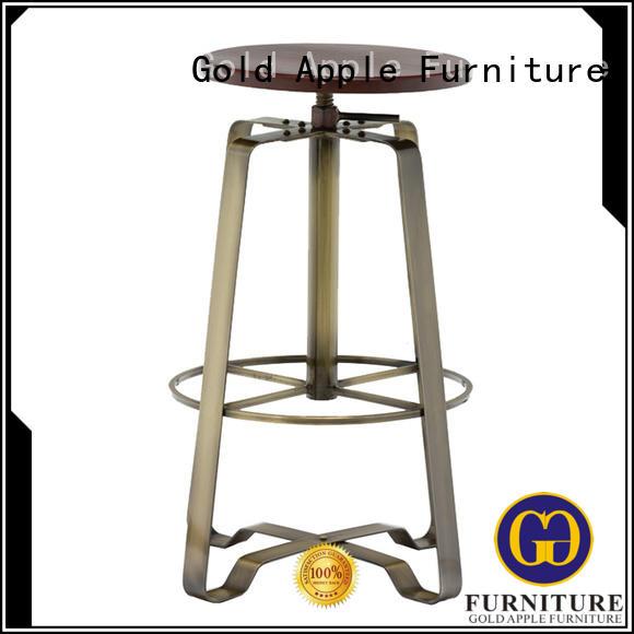 Gold Apple metal swivel bar stools no back adjustable for bar