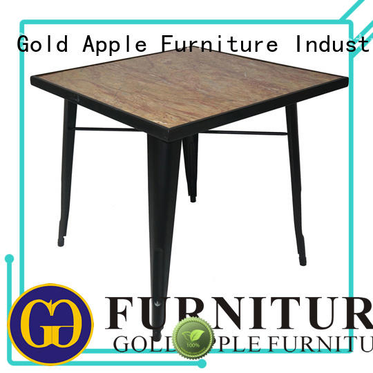 Gold Apple luxury wood furniture dining table steel frame for catering