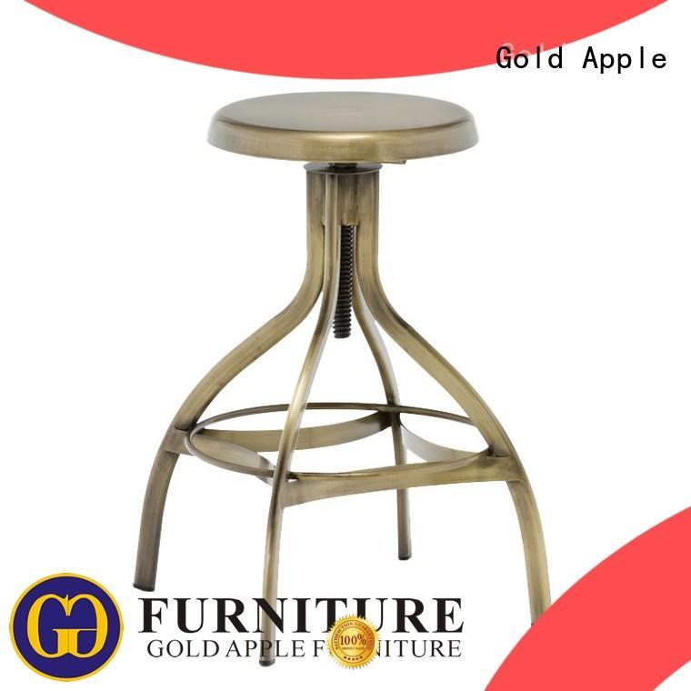 Gold Apple plywood high back swivel bar stools powder coating for wholesale