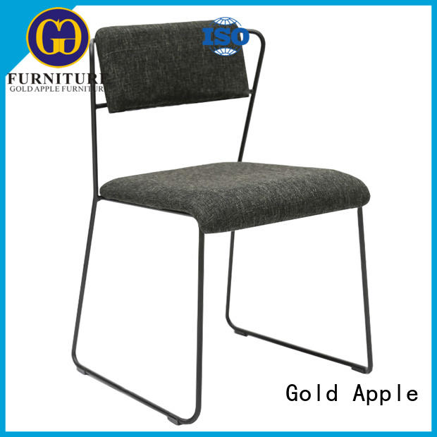 Gold Apple powder coating upholstered kitchen chairs pu leather