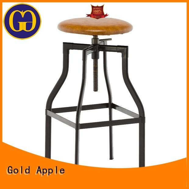 Gold Apple metal bar chair grey upholstered bar stools adjustable with cushion
