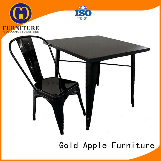 Gold Apple long garden table and chairs sale high-quality powder coating