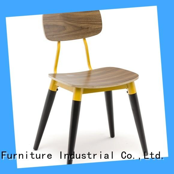 Gold Apple plywood wooden chair with armrest modern design for restaurant