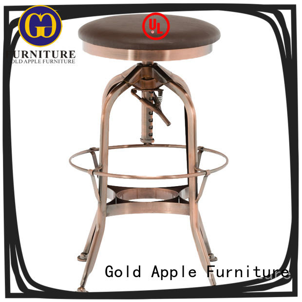 Gold Apple heavy upholstered swivel bar stools industrial with cushion