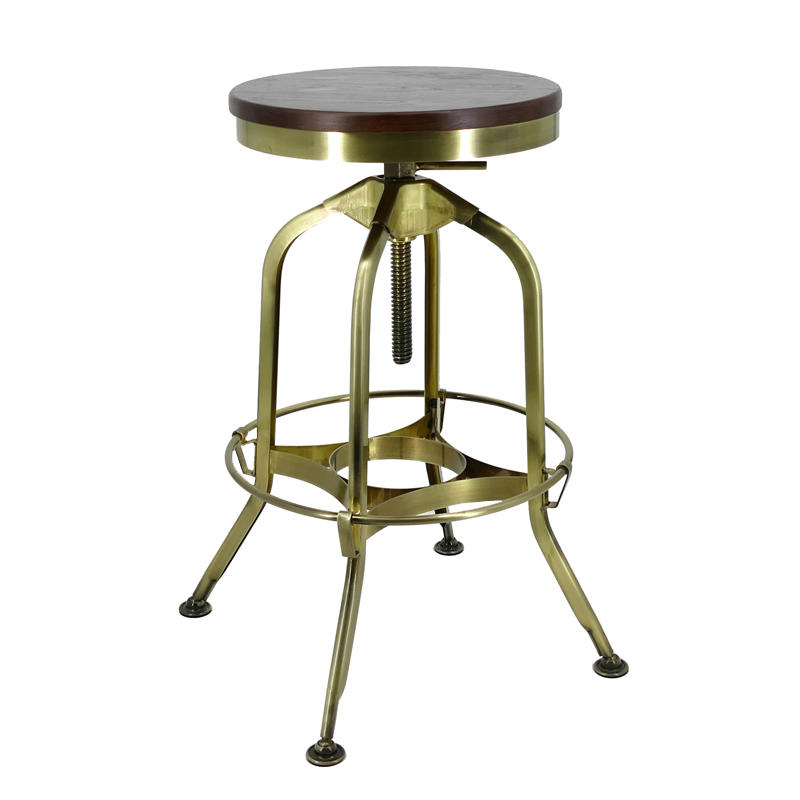 Gold Apple vintage wood and leather bar stools wooden seat for restaurant-3