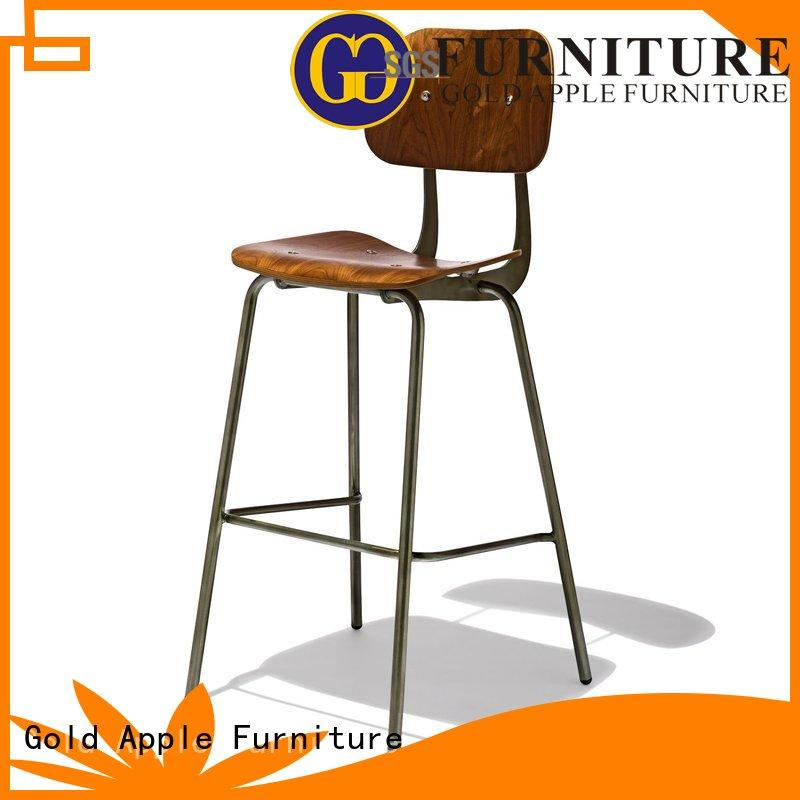 high-end metal stools with wood top wooden seat for restaurant Gold Apple