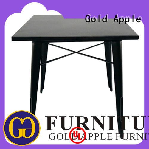 Gold Apple high-end large wooden dining table steel frame for restaurant