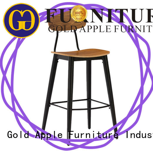 Gold Apple low-price wood top bar stools elegant with backrest