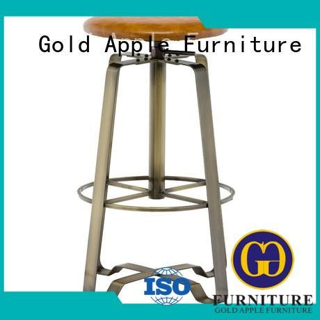 Gold Apple industrial saddle seat counter stool antique style with armrest