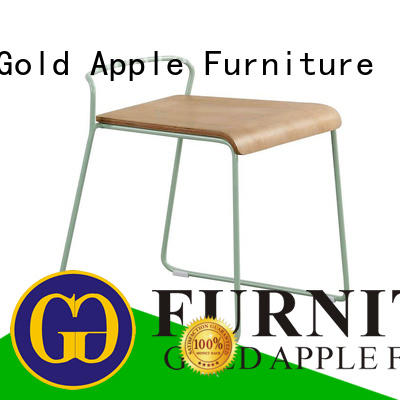 Gold Apple metal frame low wooden stool professional restaurant chairs