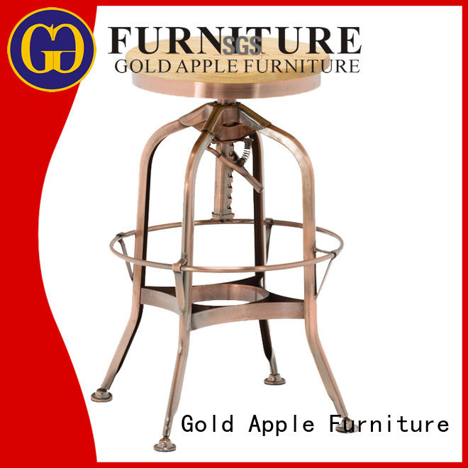 Gold Apple low-price round wooden stool industrial metal for restaurant