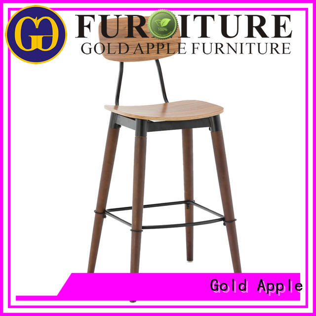 Gold Apple low-price backless wooden bar stools industrial metal for kitchen