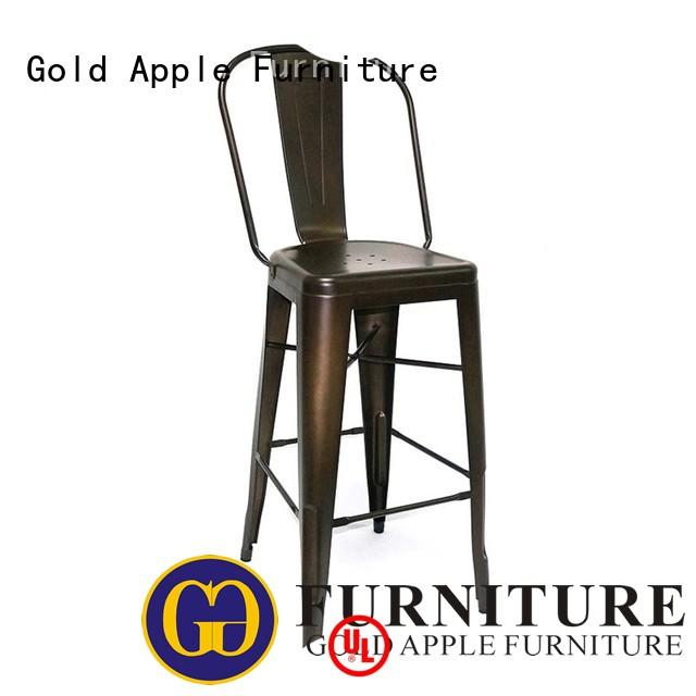 Gold Apple gun metal black padded bar stools stackable restaurant