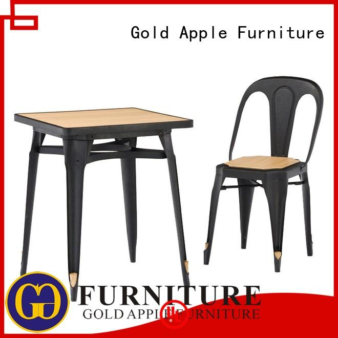 Gold Apple french style 6 chair round dining table set customized for hotel