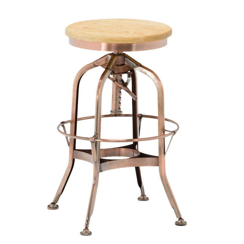 Gold Apple vintage wood and leather bar stools wooden seat for restaurant-2