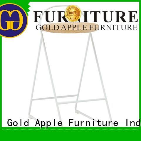 vintage modern wood stool industrial metal with backrest Gold Apple