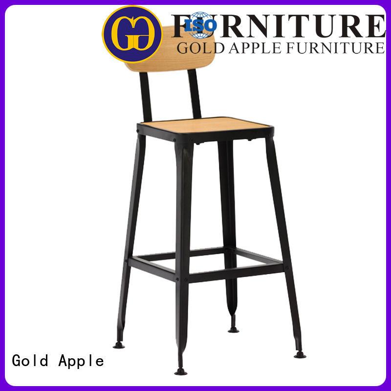 Gold Apple gun metal aluminum bar stools upholstered coffee shop furniture