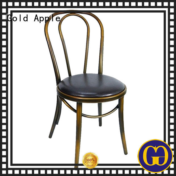 Gold Apple garden metal restaurant chairs colourful without armrest