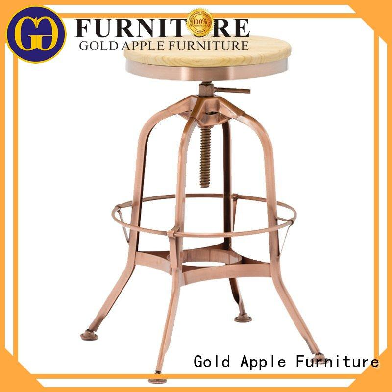Gold Apple vintage wood and leather bar stools wooden seat for restaurant